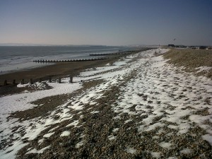 Snow on camber beach