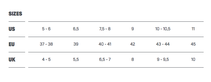 Duotone Boot Size Chart