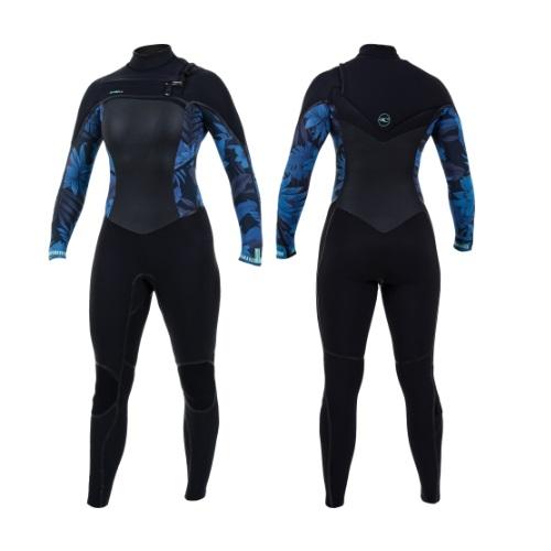 2020 O'Neill Psycho Tech 5/4 Chest Zip Womens Wetsuit Black Blue Faro