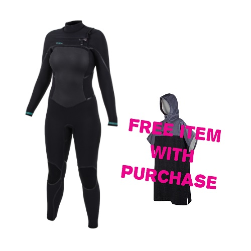 2020 O'Neill Psycho Tech 5/4 Chest Zip Womens Wetsuit Free Poncho