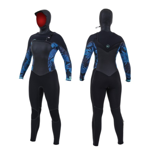 2020 O'Neill Psycho Tech 6/4 Chest Zip Womens Wetsuit With Hood Black Blue Faro