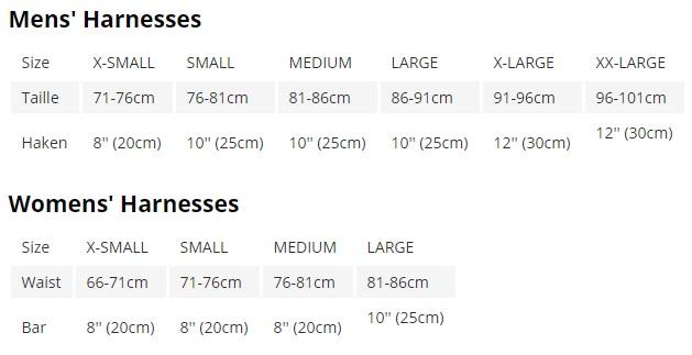 Dakine harness size guide