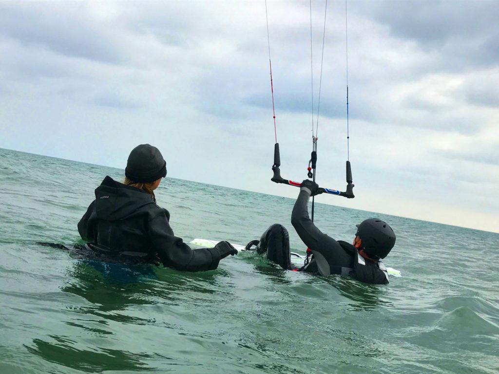 Beginner kitesurfing lessons at Camber Sands