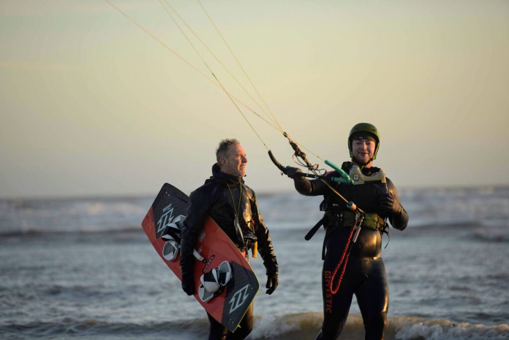 Clive teaching private kitesurfing lesson in winter